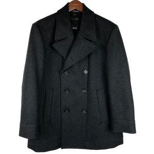 NWOT Hugo Boss Dark Grey Wool Blend Peacoat 40R/L